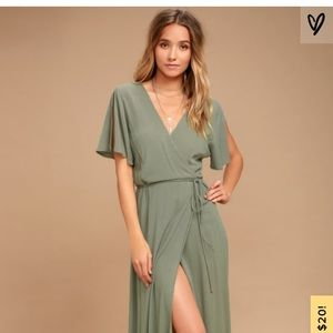 Lulu's Much Obliged Washed Olive Dress